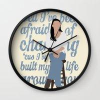 glee Wall Clocks featuring Brittana - Glee - Santana Lopez [Solo] Landslide typography minimalist design by Hrern1313