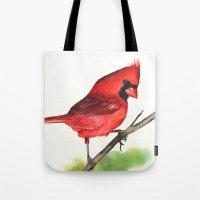 cardinal Tote Bags featuring Cardinal by LouiseDemasi