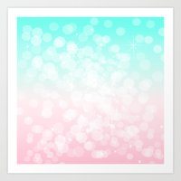 Turquoise and Pink Bokeh Art Print