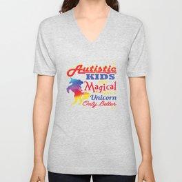 Magical Unicorn Autism Awareness Day Autistic Gift Unisex V-Neck