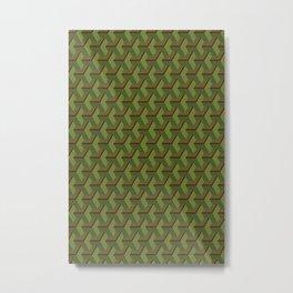 Army green geometric 3D pattern Metal Print