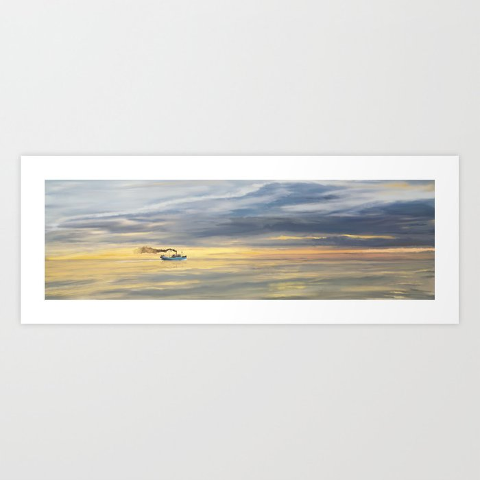 Old Cargo Ship Steaming on the Horizon Art Print