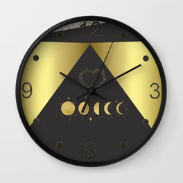 Faux Gold Moon Phases Gold Heart Wall Clock