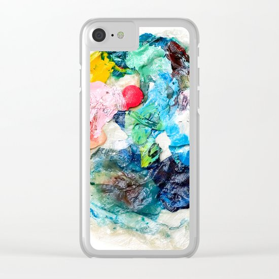 Rainbow Earth Paint Moon Love Clear iPhone Case