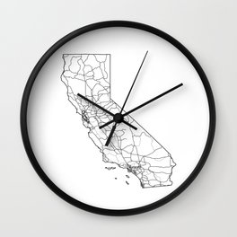 California White Map Wall Clock