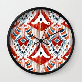 red bali ikat Wall Clock
