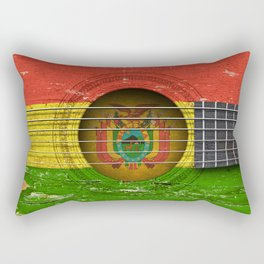Old Vintage Acoustic Guitar with Bolivian Flag Rectangular Pillow