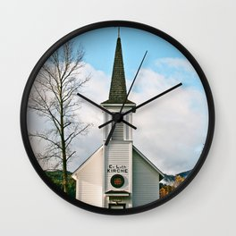 Country Church in the Mountians Wall Clock