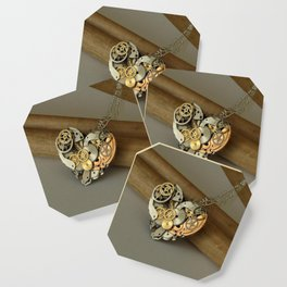 Steampunk Heart of Gold and Silver Coaster