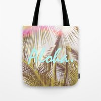 aloha Tote Bags featuring ALOHA by The Pixel Gypsy