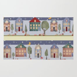 Kids patchwork seamless pattern with houses and trees Rug
