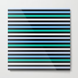 Sky Blue Minty Green Fun Stripes Metal Print
