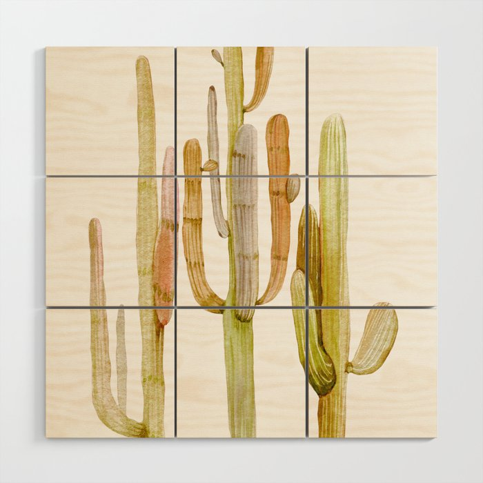 Minimalist Cactus Drawing Watercolor Painting Southwestern Green ...