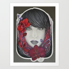 The Red in Orchids  Art Print