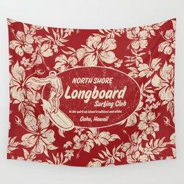 Club Surfing Longboard Surf Logo and Hibiscus Hawaiian Print      Wall Tapestry