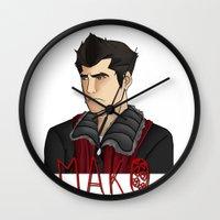nerd Wall Clocks featuring Nerd by BlackPhoenixFeathers