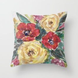 Roses & Poppies Throw Pillow