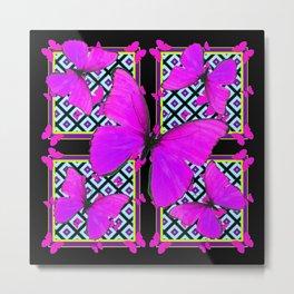 Fuchsia Satin Butterflies Pattern On Black Metal Print