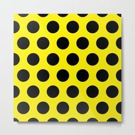 Black Circles on Yellow Background Metal Print