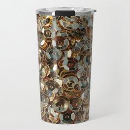 Shiny gold sequins background Travel Mug