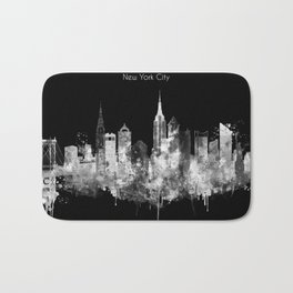 New York City Inverted Watercolor Skyline Bath Mat