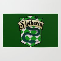 slytherin Area & Throw Rugs featuring Slytherin Crest by AriesNamarie