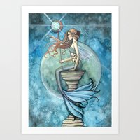 Jade Moon Mermaid Fantasy Illustration Art Print