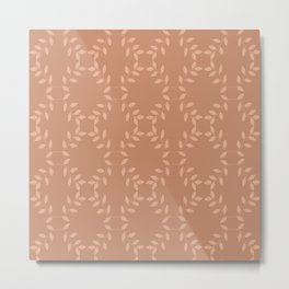 Peach nougat color netted leaf pattern Metal Print