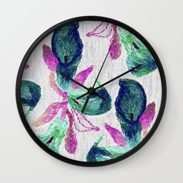 embroidered callas Wall Clock