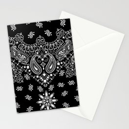 black and white bandana pattern Stationery Cards
