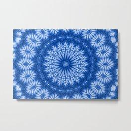 The Perfect Fluff Kaleidoscope Neon Blue Metal Print
