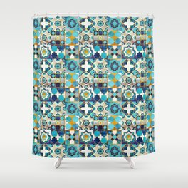 Spanish moroccan tiles inspiration // turquoise blue golden lines Shower Curtain
