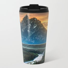 Sunset On Grand Teton And Snake River Travel Mug