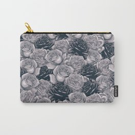 Stop and Smell the Roses B&W / Rose pattern Carry-All Pouch