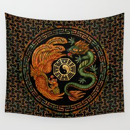 Phoenix and Dragon with bagua #2 Wall Tapestry
