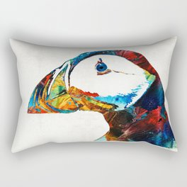 Colorful Puffin Art By Sharon Cummings Rectangular Pillow