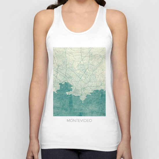 Montevideo Map Blue Vintage Unisex Tank Top