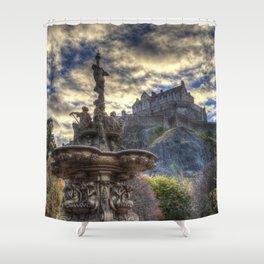 Ross Fountain And Edinburgh Castle Shower Curtain