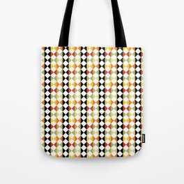 Checker diamond style colorful pattern with black and white Tote Bag