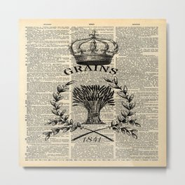librarian book dictionary print vintage crown french farmhouse wheat bouquet Metal Print