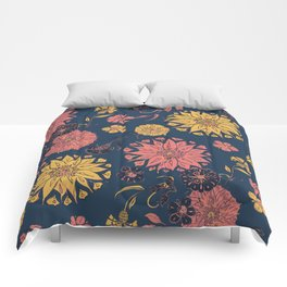 Multi-Florals in Blue & Coral Comforters