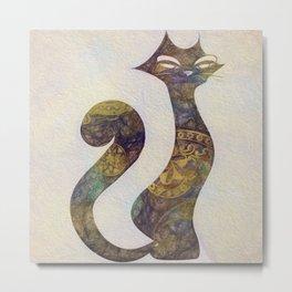 The Tattoo Mandala Cats - Safire & Gold Metal Print