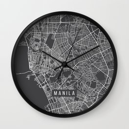Manila Map, Philippines - Gray Wall Clock