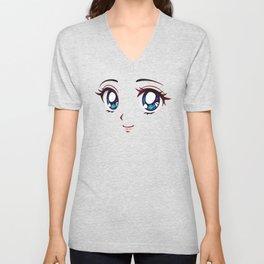 Cute Anime Face Unisex V-Neck