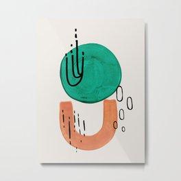 'Bounce' Minimalist Mid Century Modern Funk Fun Colorful Shapes Patterns Emerald Green Tan by Ejaaz Haniff Metal Print