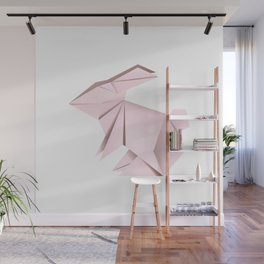 Pink origami bunny Wall Mural