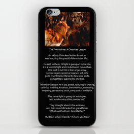 TWO WOLVES CHEROKEE TALE Native American Tale iPhone Skin
