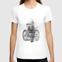 cafe racer T-shirts featuring SKULL AND CAFE RACER by Joedunnz