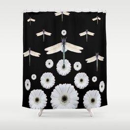 SURREAL WHITE DRAGONFLIES FLOWERS BLACK COLOR PATTERNS Shower Curtain