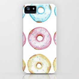 Fun watercolor glazed donuts pattern iPhone Case